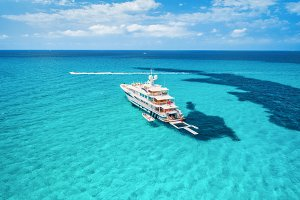 Yacht on the azure seashore