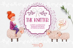 The Knitter - Cheerful Clipart Set