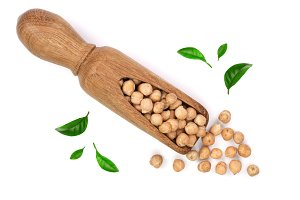 Dry raw organic chickpeas in a
