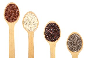 Black red white quinoa and chia