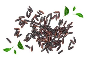 Black wild rice isolated on white