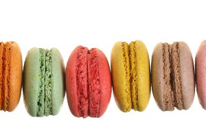 colored macaroons isolated on white