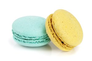 blue and yellow macaroon isolated on