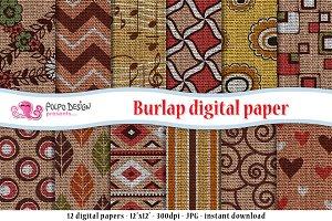 Patterned Burlap Digital Papers