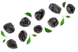Dried plum - prunes with leaves