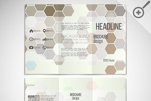 Tri-fold brochures with hexagons