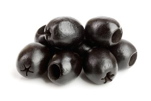 whole black olives isolated on white