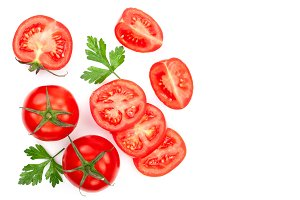 tomatoes with parsley leaves with