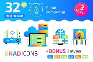 32+ Cloud computing : : GRADICONS