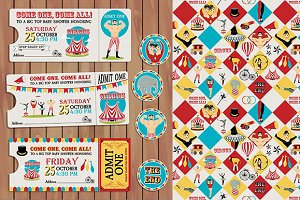 Circus Birthday Ticket+pattern