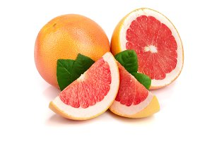 grapefruit and slice with leaves