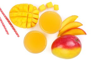 Mango juice and fruit isolated on