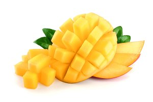 Mango fruit half with leaves and