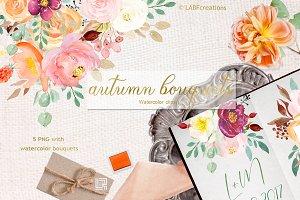 Autumn watercolour bouquets