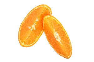 Two slices of tangerine isolated on