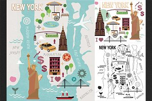 New York city set + map