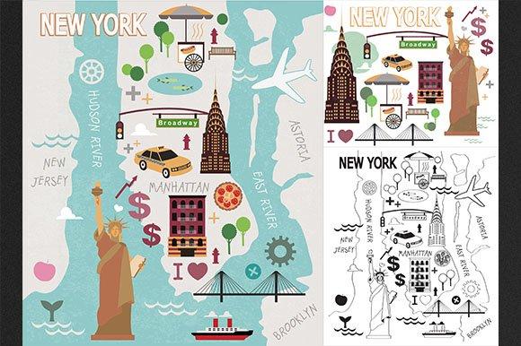 Cartoon Map Of New York City.New York City Set Map Illustrations Creative Market