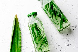 Detox water with aloe vera. Healthy