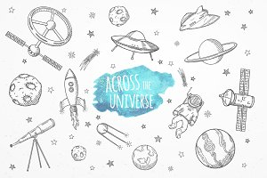 Across the universe set of doodles.