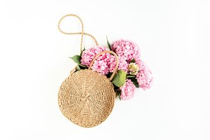 Pink bouquet of hydrangea in a bag