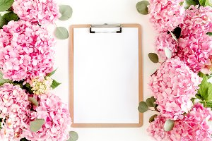 Clipboard decorated of hydrangea