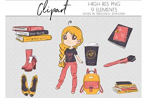 Cute planner girl clip art, journal