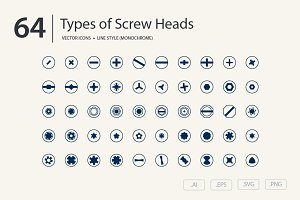 Screw Heads Icon Set