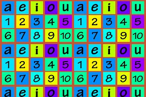 Numbers and Vowels Colorful Seamless
