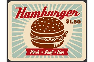 Fast food poster with hamburger