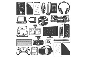 Electronic devices and gadget icons