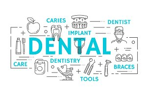 Dental thin line icons