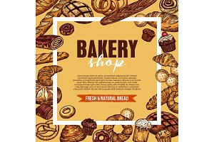 Bakery shop sketch poster with frame