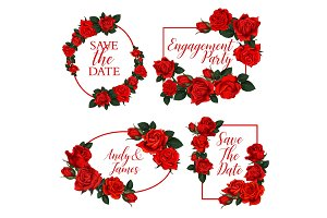 Flower frame of wedding invitation