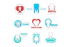 Dental clinic and dentistry icons