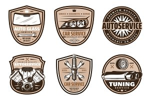 Auto service, car repair icons