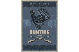 Hunting banner, rifle capercaillie