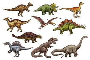 Dinosaur reptiles sketch animals