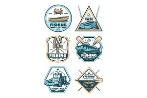 Fishing badge with fish, rod, hook