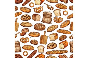 Bread and baguette seamless pattern