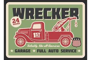 Truck wrecker banner, auto service