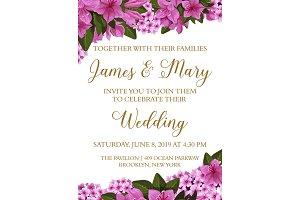 Wedding invitation card with flower