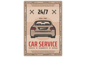 Auto repair service poster with car