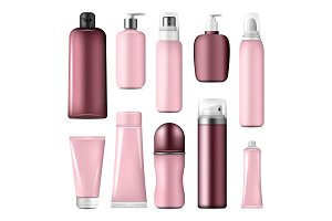 Cosmetic bottles and cream mock up