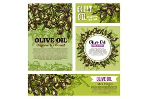 Olive oil labels with green branches