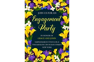 Engagement party floral card