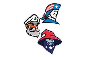 Patriot, Seadog and Warlock Mascot C
