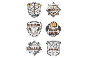 House repair service badges, tools