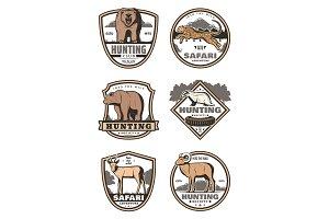 Hunting club retro badges