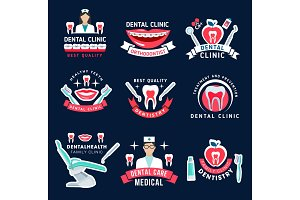 Dentistry and dental care symbols