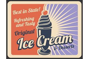Ice cream retro banner